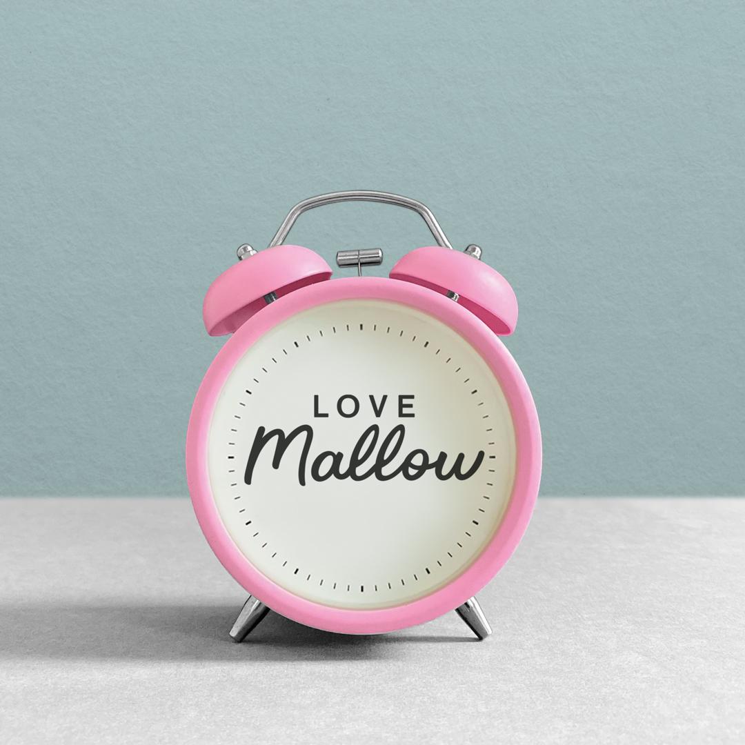 Love Mallow branded alarm clock