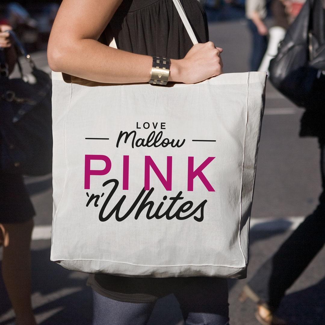 Pink N White branded shoulder bag